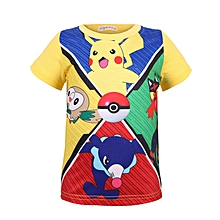 4396438e649 Boy pet spirit cotton round collar short-sleeve cartoon pull-up T-shirt