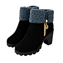 TB Female Martin Shoes Women Boots Side Zipper Chunky Heels Ladies black