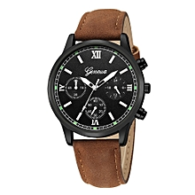 jiuhap store Luxury Quartz Sport Military Stainless Steel Dial Leather Band Wrist Watch -As shown