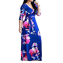 Plus Size Floral Printed Party Maxi Dress Ankara Gown Style-Blue