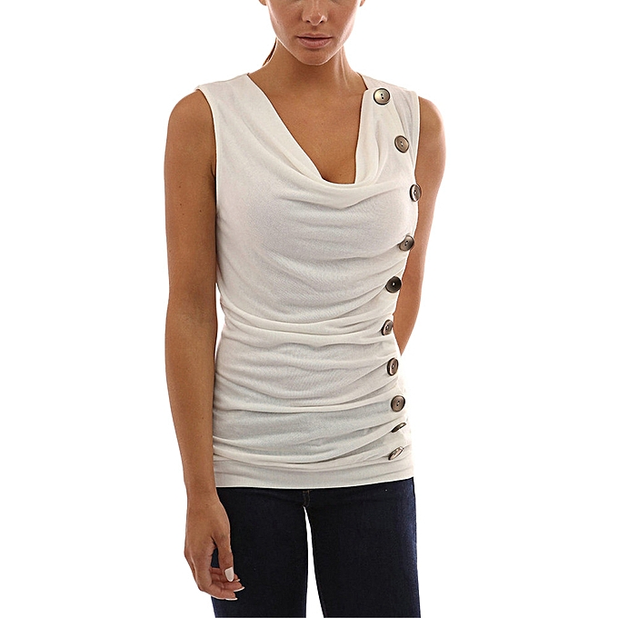 0fe17d92a1c45e ... Hiamok Womens Slim V Neck Button T Shirt Ladies Sleeveless Tops Shirt  Blouse Tee ...
