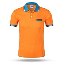 Best Sale Fashion Casual Men's Summer Breathable Short Sleeves Polo Shirts-Orange