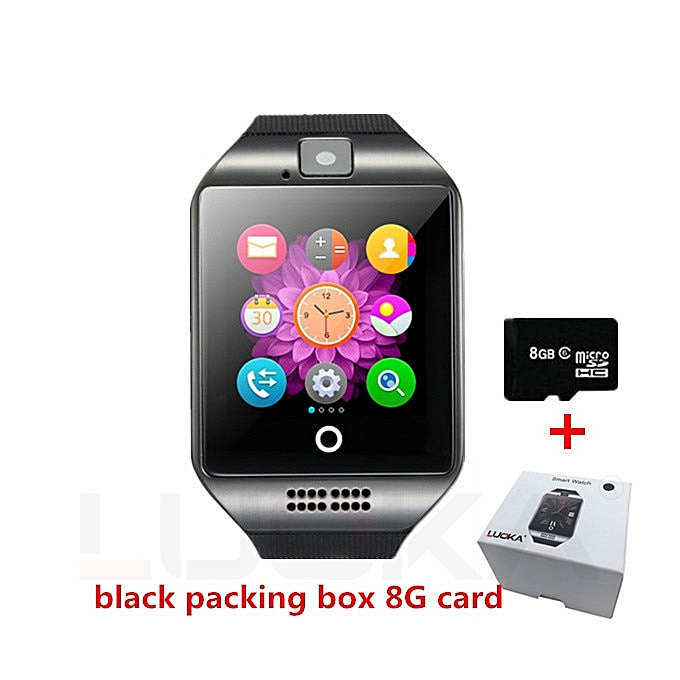 Smart watch clock Q18 SmartWatch Support Sim TF Card Phone Call Push  Message Camera Bluetooth Connectivity For Android IOS Phone(#Q18 Black with  8G)