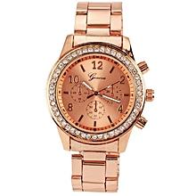Fashion Ladies Women Girl Unisex Stainless Steel Analog Quartz Wrist Watch-Rose Golden