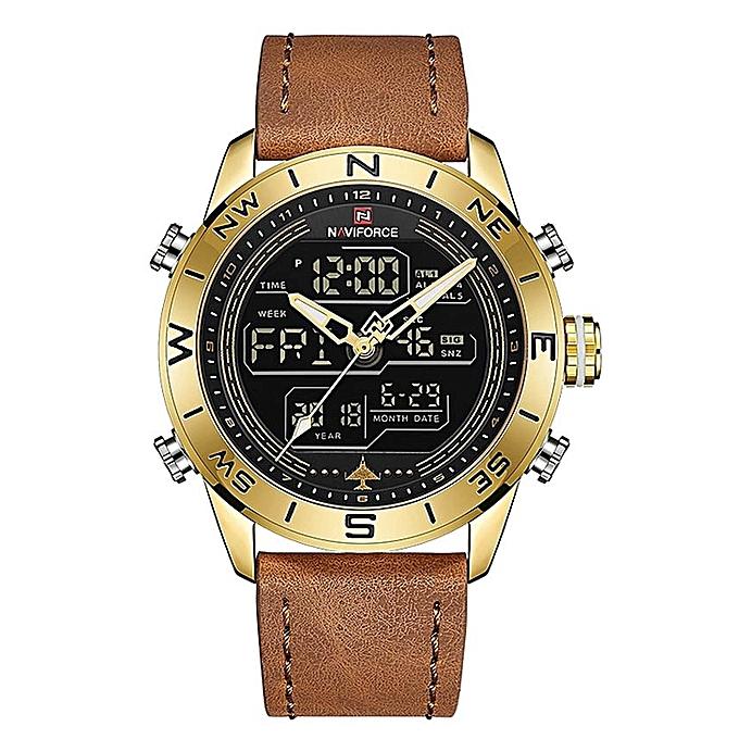 Fashion Gold Men Sport Watch Mens LED Analog Digital Watches Army Military  Leather Quartz Wristwatch f3c0d501b8