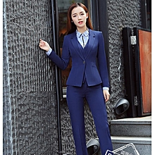 Hot sale long-sleeved professional skirt suit interview sales dress suit-blue-S
