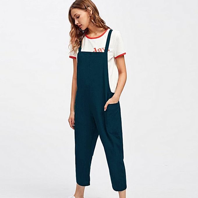 dc36b26f482 Generic Women Casual Dungarees Loose Cotton Pockets Rompers Jumpsuit ...