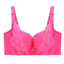 Women's Lace Adjustment Fixed Balconette Bras (Plum red)