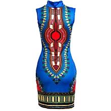 Hiamok Women Sleeveless Fashion African Print Package Hip Cheongsam Tops Casual  Print