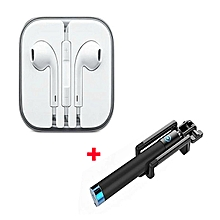 Quality Earphones with Free Selfie Stick  - white