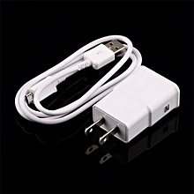 US Plug Wall Charger + USB Data Cable For SamSung Galaxy Note2 II N7100 S4 S3-White