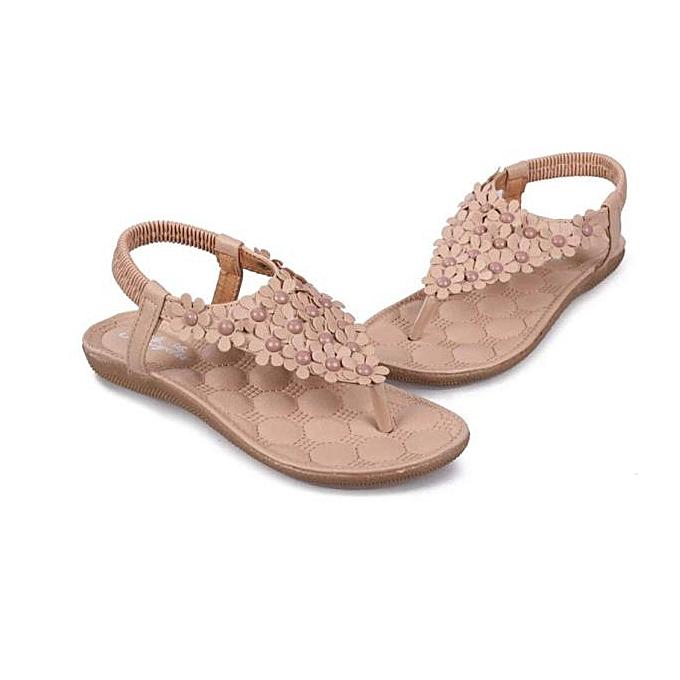 235b66443bce79 ... bluerdream-Summer Bohemia Sweet Beaded Sandals Clip Toe Sandals Beach  Shoes -Khaki (EU ...