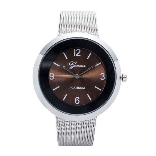 Silver Unisex Stainless Steel Strap Watch With Brown Face..