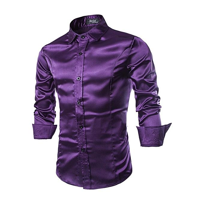 fb32c42352b Generic Men Bright Satin Shirt Plain Color Long Sleeve Tops   Best ...