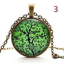 1 Retro Life Tree Art Glass Cabochon Pendant Bronze Sweater Long Chain Necklace