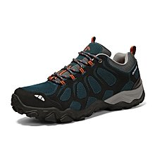 Winter Outdoor Sports Shoes Men Hiking Mountain Climbing Shoes Leather Waterproof Men Trekking Shoes Anti-skid Sneakers - Blue