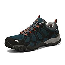 Winter Outdoor Sports Shoes Men Hiking Mountain Climbing Shoes Leather Waterproof Men Trekking Shoes Anti-skid Sneakers - Blue