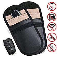 2 x Car Key Signal Blocker Case RF Keyless Entry Fob Guard Pouch Faraday Bag Antitheft Lock Devices Security WIFI/GSM/LTE/NFC/RF Blocker Bag, Black