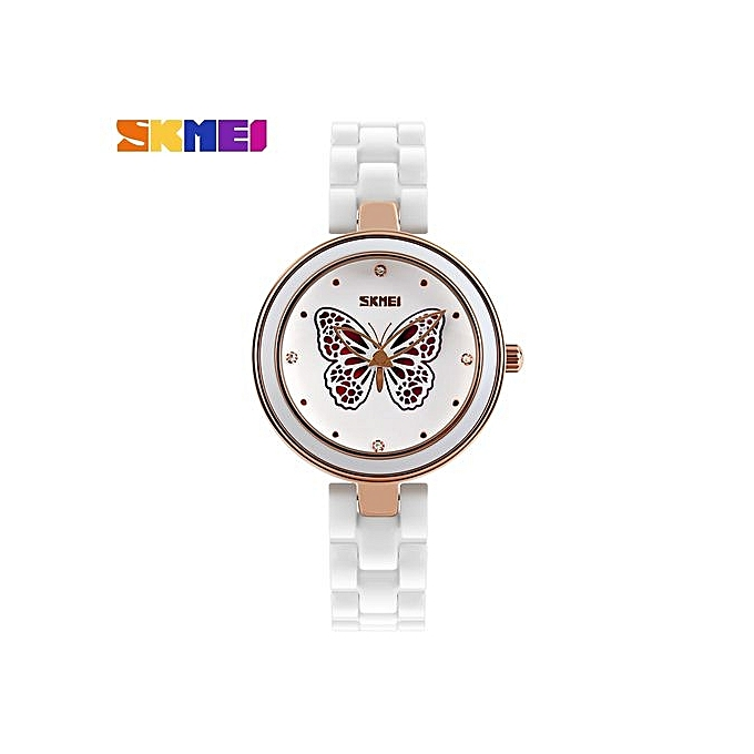 Women's Waterproof Ceramic Bracelet Quartz Bracelet Wrist Watches -Butterfly-Red(9131)