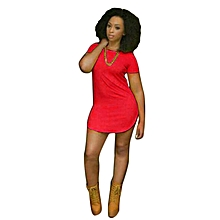 Fohting Sexy Women Tops Short Sleeve Side Slit Casual T Shirt Party Mini Dress RD/L -Red