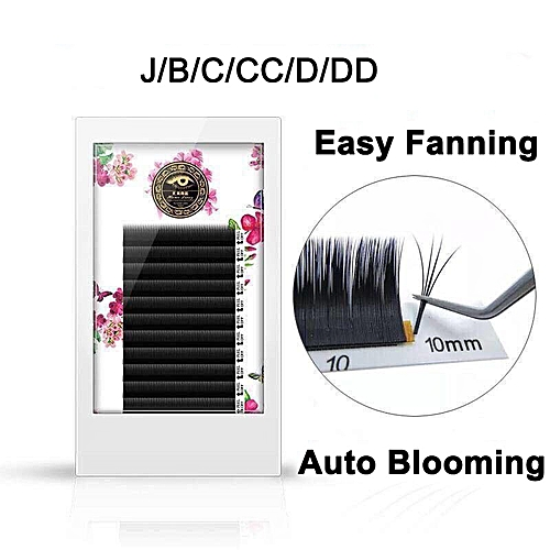 ZHIYOU Fast Blooming Fanning Volume Mega Auto Easy Grafting False Eyelashes  Extension Thick Novice Make Plant Soft 0 05/0 07 Curl: C Thickness: 0 07mm