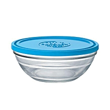 Lys Round Stack Bowl - 20cm - Clear with Blue Lid