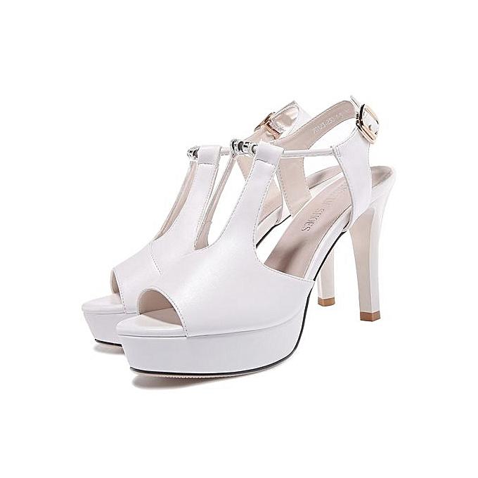 e0a01b3701d7 Summer Sexy Women Sandals Peep Toe High Heels Slingbacks Black White Ladies  Dress Shoes New Platform