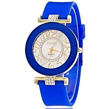 New Fashion Silicone Bling Crystal Quartz Watch Women & Girls(Dark Blue)