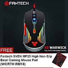 FANTECH (SP21) V5 WARWICK 3200 DPI USB Optical 6 Buttons Full Function RGB Light Gaming Mouse HT