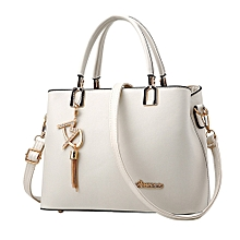 singedanNew ladies ladies bag simple handbag shoulder bag large bag Messenger bag WH -White
