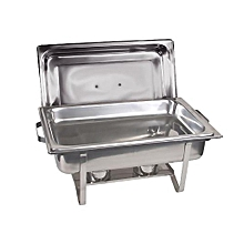 Stainless Steel Chafing Buffet Food Warmer Serving Dish Set with 1 Single Food Pan 2 Fuel Holders - Silver