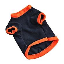 dog Puppy T-Shirts Fleece Warm Clothes Cute Halloween Pumpkin S-Navy