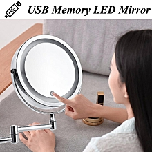 7'' 10X Magnifying Cosmetic Mirror Wall Mounted Adjustable LED Light Makeup Lamp