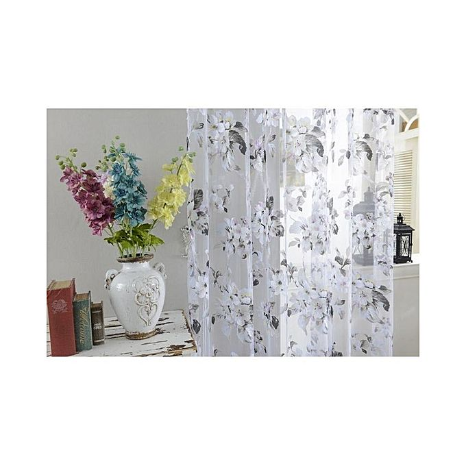 Floral Voile Curtains Window Blinds Panel For Living Room