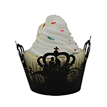 50pc Christmas Lace Laser Cut Cupcake Wrapper Liner Baking Cup Muffin   -Black