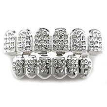 Set 14K Gold Teeth Grillz Top Bottom Iced Out CZ Hip Hop Tooth Cap Grill Bling