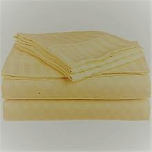 4 Piece Cream  Satin Stripe Cotton Fitted Bed-Sheet Set