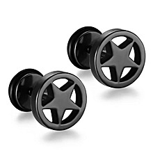 Punk Men Jewelry Black Round Five-Pointed Star Titanium steel For Mens Earrings Earings Fashion Jewelry,9MM