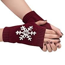 Women Girl Knitted Arm Fingerless Warm Winter Gloves Soft Warm Mitten WE-Win Red