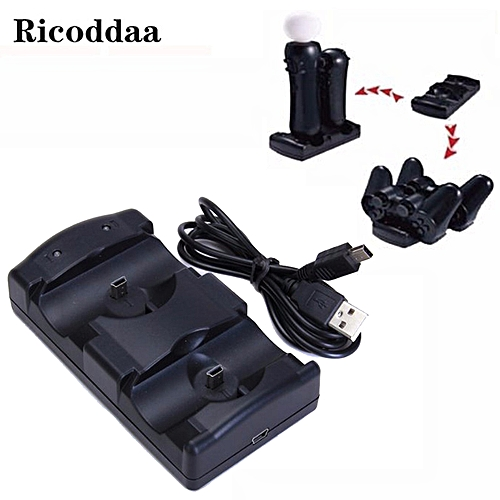For PS3 Gamepad 2 in1 USB Charging Dock Powered Charger For Sony  PlayStation 3 Controller Joystick Controle and Move Navigation