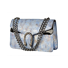 Gold and Sky Blue Hand Bag
