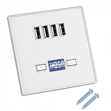 4 Ports LED Light USB Charger Wall Socket Charger Station For Construction Sites 36V White