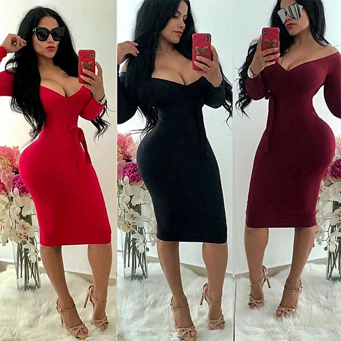a779b17e045 ... Sexy Women Off Shoulder Dress Deep V Neck Long Sleeve Bow Solid Bodycon  Party Midi Dress ...