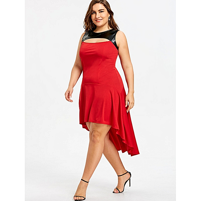 ec4856dafebed Fashion Plus Size PU Leather Trim High Low Dress - RED   Best Price ...