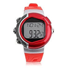Infrared Heart Rate Monitor Watch Sport Calorie Tester Men Women Wristwatch red