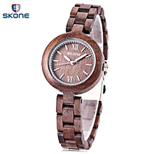 7400 Female Wooden Quartz Watch Luminous Pointer Slender Band 3ATM Wristwatch-DEEP PURPLE