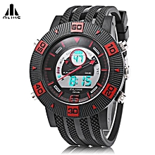 AK14107 Quartz Digital Men Watch Calendar Chronograph Male Wristwatch-Red-Red