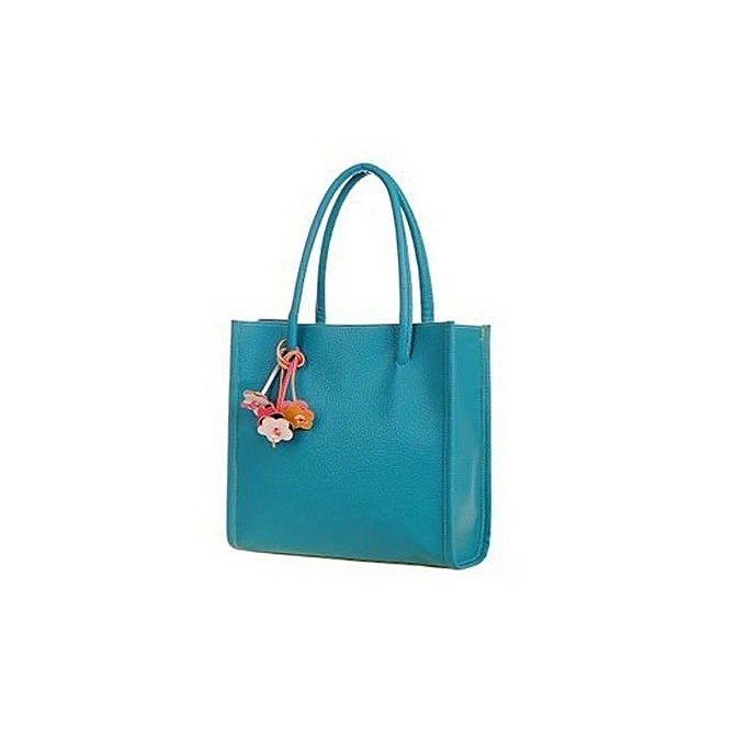 bluerdream-Fashion Girls Handbags Leather Shoulder Bag Candy Color Flowers Totes BU-Blue