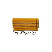 Raw Silk Clutch with Diamond Strips - Yellow