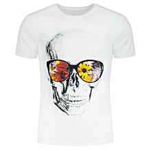 Flowers and Skull Printed Short Sleeve T-shirt
